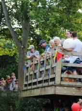 Crowds gather for the Cobham Heritage Day Duck Race
