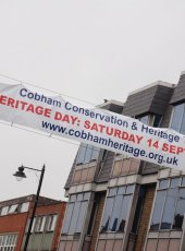 Cobham Heritage Day banner in the High St