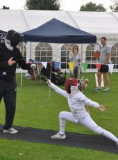 Cobham Fencing Club give a demonstration in the arena