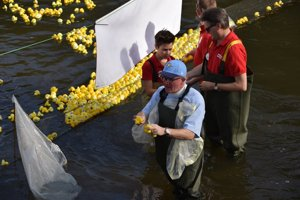 Mike Branscombe pulling out the winning ducks